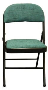 Steel Frame Folding Chair with Green Fabric Seat