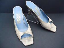 Salvatore Ferragamo High Heel Grey Snake Skin Slides 7