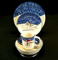 THOMSON POTTERY Snowman China, 4 piece place setting, excellent condition
