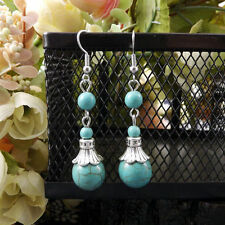 Pretty New Tibetan Silver Turquoise Triple Bead Dangle Drop Earrings