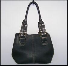 Tignanello Black LEATHER Perfect 10 Shopper TOTE Handbag SATCHEL EUC