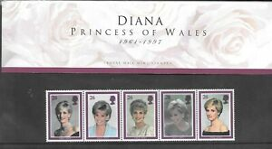 Diana Princess of Wales 1961/1997 Commemorative Stamps in protective cover