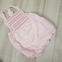Janie and Jack Girls Bubble Romper 18-24 Month Pink Smocked Ruffle Cotton Outfit