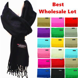 Winter Warm Plain Solid 100% Cashmere Wool Wrap Scarf Scotland Made Scarves Lot