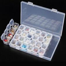 28 Slots Clear Plastic Empty Storage Box Nail Art Rhinestone Tools Jewelry Beads