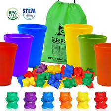 Gleeporte Colorful Counting Bears with Coordinated Sorting Cups | Sorting, Math
