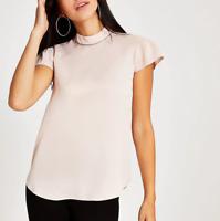 Womens River Island T-Shirt Short Sleeve Summer Diamante Top Blouse Tee UK 8-12