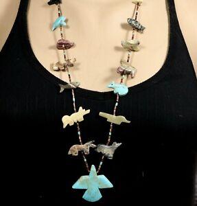 Vintage Navajo Handmade THUNDERBIRD Animal FETISH HEISHI Sterling Clasp Necklace