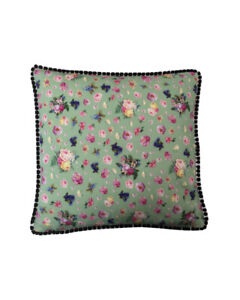 "16"" Vintage style Green Floral Black pompom trim scatter cushion covers sham"
