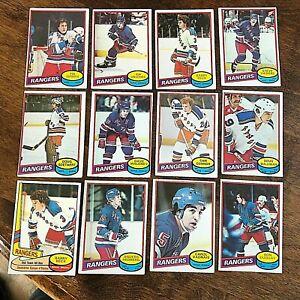 1980-81 O-Pee-Chee  NEW YORK RANGERS 22 Card team set/lot   marked checklist