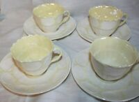 Lot of 4 vintage Belleek Teacups and Saucers Shell design Ireland beautiful