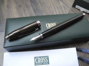 CROSS TOWNSEND Brown Lacquer SIZE F NIB FOUNTAIN PEN NEW SET