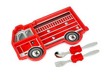 Eat Set Kid Eating Toy Dish Spoon Fork Dinner Plate Fire Engine Truck Dinnerware