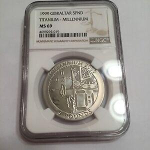 1999 Gibraltar 5 pound Titanium Millennium MS 69 NGC Coin Scarce