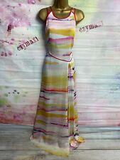 COAST Silky Floaty LONG/FULL LENGTH WHITE/YELLOW/PINK MAXI DRESS SIZE 14