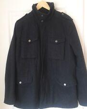 BEN SHERMAN Mens Grey Wool Blend Coat Jacket Miltary Size Medium Funnel Neck