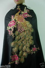 VB46 Colorful Large Pheonix Peacock Embroidery Sequined Trim Tulle Applique
