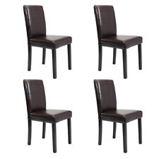 Brown  Set of 4 Leather Contemporary Dining Wood Chairs Elegant Design Home Room