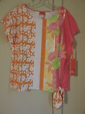 NWT Womens L Hearts of Palm Multicolor Floral & Striped Pattern Side Tie Blouse