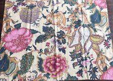 Pottery Barn Palamore Floral Linen Blend Standard Pillows Sham Tan Pink Euro