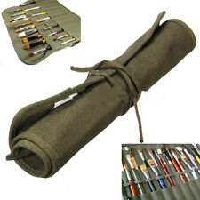 Hot Roll Up Canvas Paint Brush Storage Case Bag For Watercolor Oil Brush DSUK