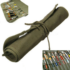 Hot Roll Up Canvas Paint Brush Storage Case Bag For Watercolor Oil Brush