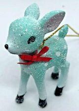Miniature Powder Blue Baby Deer Ornament w/ Sugared Glitter & Red Bow ~ Cute! ~