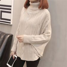 Ladies Cable Knit Sweater Turtle Neck Cape Jumper Batwing Sleeve Pullover Casual