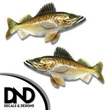 "Walleye - Fish Decal Fishing Tackle Box Bumper Sticker ""5in SET"" F-1070 D&"