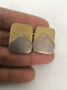 Beautiful Vtg Taxco Mexico Modernist sterling Silver 925 Brass Clip On earrings