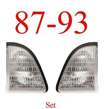 87 93 Mustang 2Pc Inner Clear Park Light Set, L&R, Ford, Parking Lights