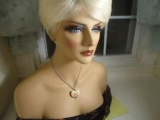 Vtg Chain Necklace W/ Flower Heart Pendant Silver Tone From 1930's-1980's   #82.