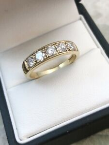 18ct Yellow Gold 5mm Wide Diamond Half Eternity Ring 0.63ct Size P A8327