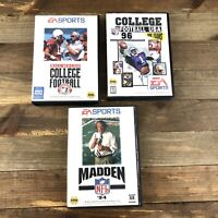 Sega Genesis Video Game Lot Of 3 Madden 94 Bill Walsh College Football 96 Boxes