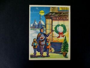 #L47- Vintage Unused Xmas Greeting Card Victorian Carolers Singing by Toy Store