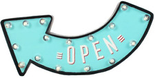 Open LED Light up 3d Arrow Sign Retro Design in Aqua Blue Shop Stall Christmas