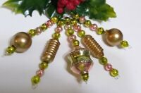Mercury Glass Christmas Ornaments 5 Bead Icicles Vintage Spring Easter Pink Gold