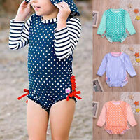 Toddler Kids Baby Girl Ruffled Dot Striped Swimsuit with Sun Protection Swimwear