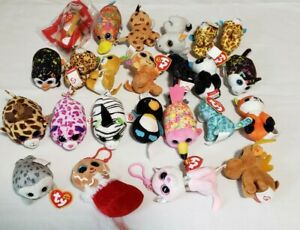 Lot of 24 TY Beanie Mini Boos Collectibles plush fiona cat giraffe leopard seal