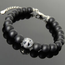 Men's Women Bracelet 8mm Matte Black Onyx 925 Sterling Silver Bead Link 1376