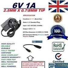 UK 6V 1A AC100-240V Adattatore Alimentatore 50/60Hz 2.5MMX0.7/8MM 2.5X0.7/8 DC Punta