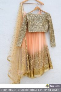 New Lengha Choli Indian Wedding Designer Party Special Peach Georgette Lehenga