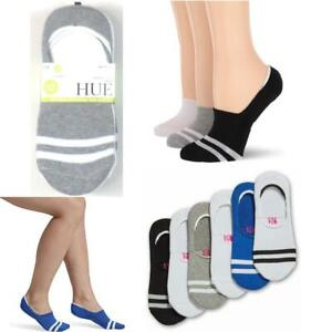 6 Pair Hue Womens Cushioned No Show Sneaker Liner Socks Mixed Stripe OS New