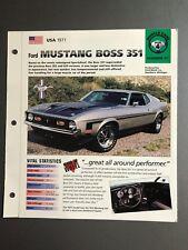 "1971 Ford Mustang Boss 351 IMP ""Hot Cars"" Spec Sheet Folder Brochure Awesome"