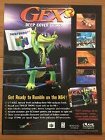 Gex 3: Deep Cover Gecko PS1 PSX Playstation 1 1999 Vintage Poster Ad Art Print