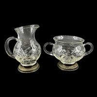 Vintage Etched Blown Glass Creamer Sugar Sterling Silver Bases Applied Handles