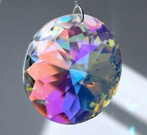 "Asfour 40mm Brilliant Circle AB coated Crystal Pendant Prism Suncatcher 1-9/16"""