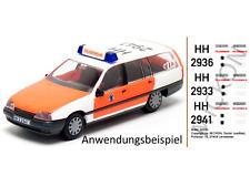 Mickon 50030 Decals Opel Omega KLF Feuerwehr Hamburg passend für Herpa 1:87 H0