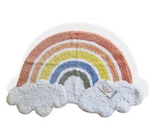 🌈 Rainbow Rug Scandi Kids 80x50cm Fluffy Baby Kids Children Rug Pastels Clouds