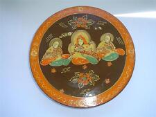 VINTAGE JAPANESE SATSUMA QUAN YIN BUDDHIST MONK DIVIDED PLATE WITH ORIGINAL BOX